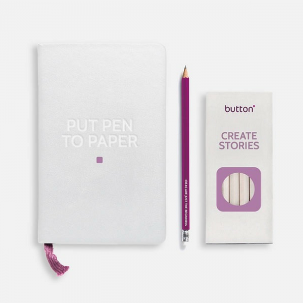 Button Marketing Notepad and Pen