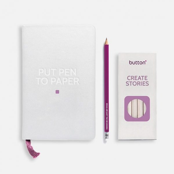 Button Marketing Note Pad & Pencil