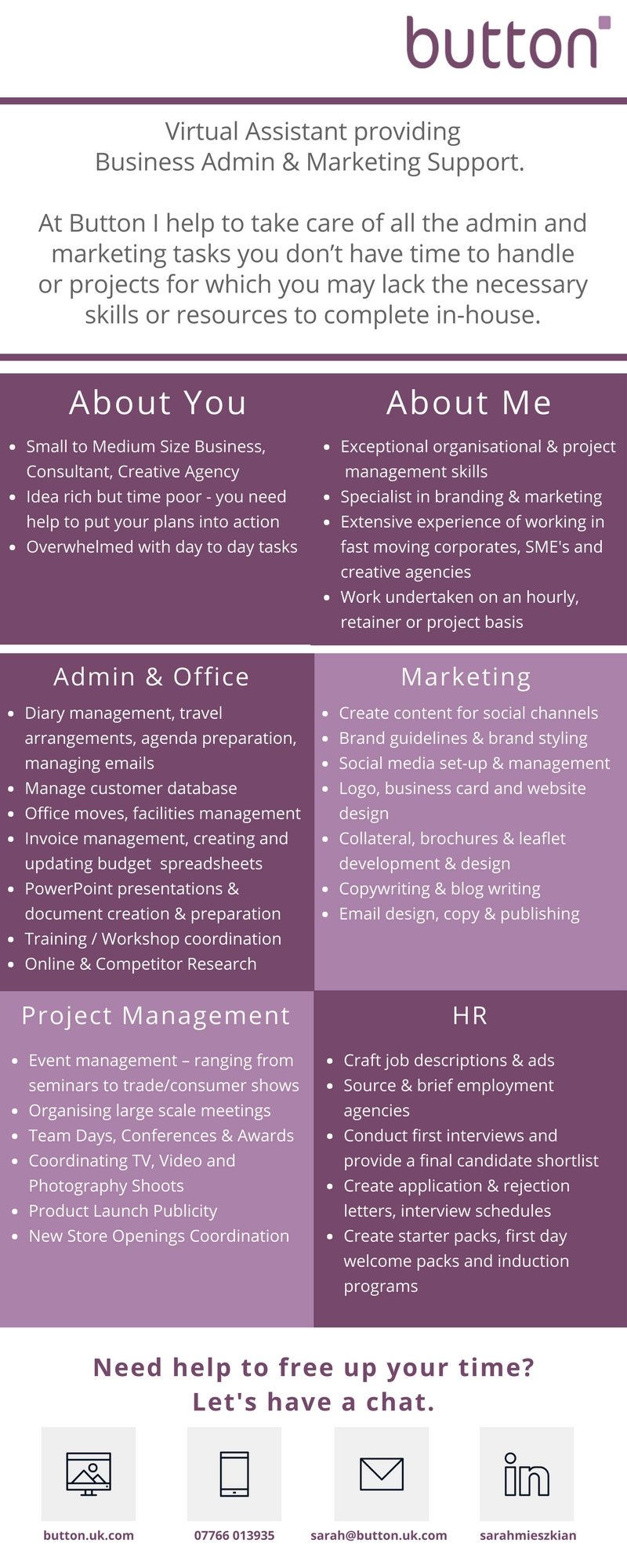 Button Virtual Assistant Infographic - Button Marketing & Branding ...
